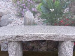 NATURAL GRANITE CURVED BENCH SILVER GREY