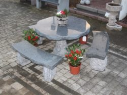 NATURAL DARK GREY GRANITE TABLE AND 2 BENCHES
