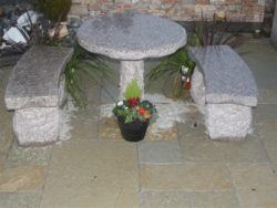 NATURAL PINK GRANITE TABLE AND 2 BENCHES
