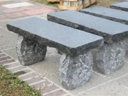 Dark Grey Natural Curved Bench