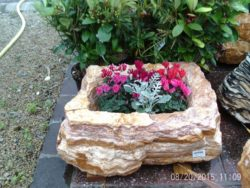 Multi Coloured Striped Rock Planter