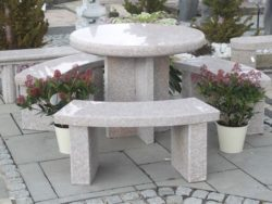 PINK GRANITE ROUND TABLE WITH 3 BENCHES