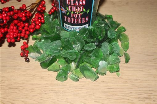 GREEN GLASS CHIP POT TOPPERS