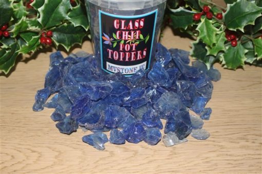 BLUE GLASS CHIP POT TOPPERS
